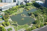 Tilt-shift bird's eye view of Old Shiba-Rikyu Garden, Tokyo, Japan Stock Photos