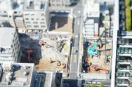 Tilt-shift bird's eye view of building construction work, Tokyo, Japan Stock Photos