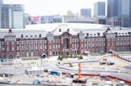 Tilt-shift bird's eye view of Tokyo Station, Tokyo, Japan Stock Photos