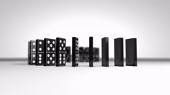 Domino chain falling effect. Stock Footage