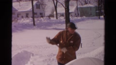 1954: two men talking and working in a totally snow covered environment NEW YORK Stock Footage