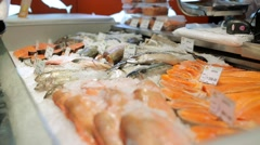 Fresh fish. Fish steaks on the counter. Fish market Stock Footage