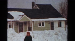 1954: neighborhood homes covered in snow, as well as massive snow banks NEW YORK Stock Footage