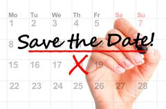 Save the date marked on calendar Stock Photos
