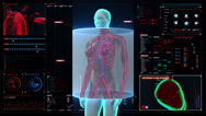 Scanning blood vessle in female body in digital display dashboard. X-ray view Stock Footage