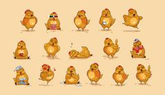Emoji character cartoon Hen Stock Illustration