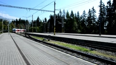 Arriving train at station Stock Footage