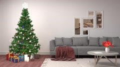 Christmas tree with decorations in the living room. 3d illustration Stock Footage