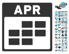 April Calendar Page Flat Vector Icon With Bonus Stock Illustration