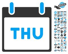 Thursday Calendar Page Flat Vector Icon With Bonus Stock Illustration