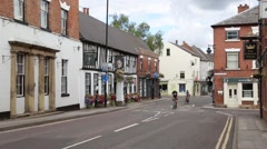 Market Place meeting Church Street. In Southwell, Nottinghamshire Stock Footage