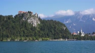 Old medieval castle above Bled lake in Slovenia Stock Footage