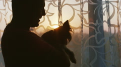 Man stroking beloved dog - Yorkshire Terrier. Should the house by the window at Stock Footage