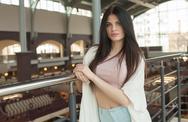Portrait of a young brunette woman Stock Photos