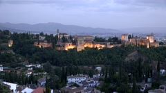 View of night Alhambra Stock Footage