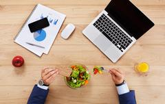 Healthy business lunch of couple together, top view at table Stock Photos