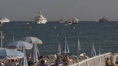 Beach Club and Yachts, Cannes France Stock Footage