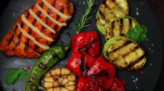 Chicken breast fillet grilled vegetables food dish Stock Footage