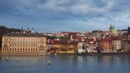Panorama of Charles bridge, Prague Stock Footage