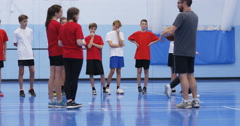 4k, Coach talking to basketball players at an indoors school court. Slow motion. Stock Footage