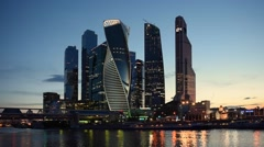Moscow International Business Center at night, Russia Stock Footage