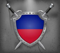 Flag of Haiti. The Shield Has Flag Illustration. Vector Medieval Background Stock Illustration