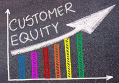 CUSTOMER EQUITY written over colorful graph and rising arrow Stock Photos