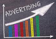 ADVERTISING written over colorful graph and rising arrow Stock Photos