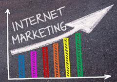 INTERNET MARKETING written over colorful graph and rising arrow Stock Photos