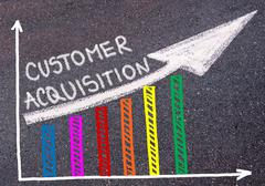 Customer Acquisition written over colorful graph and rising arrow Stock Photos