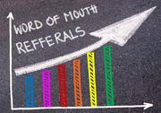Word Of Mouth Refferals written over colorful graph and rising arrow Stock Photos