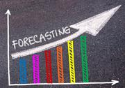 FORECASTING written over colorful graph and rising arrow Stock Photos
