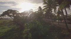Fiji mainland sunrise Aerial shot with drone beautifull tropical island Stock Footage