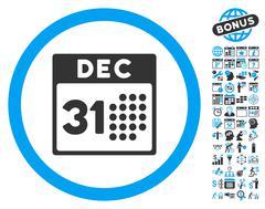 Last Year Day Flat Vector Icon With Bonus Stock Illustration