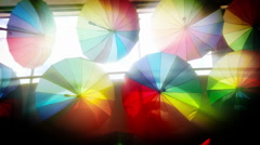 Colorful umbrellas background Stock Footage