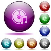 Audio CD glass sphere buttons Stock Illustration