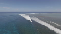 Fiji Coral Reef Aerial shot with drone beautifull tropical reef with waves Stock Footage