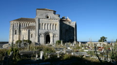 Sainte-Radegonde medieval Church, Talmont sur Gironde, Charente Maritime, France Stock Footage