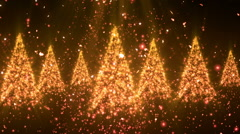 Christmas New Year Tree Glitters Gold Loopable Background Stock Footage