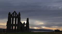 Whitby Abbey at sunset, North Yorkshire Stock Footage