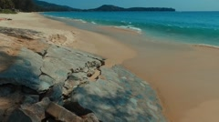 Flight over waves on the Bang Tao beach. Phuket. Thailand. Stock Footage