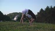 Girl enjoy workout outdoors Stock Footage