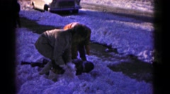 1959: kids are playing in the snow HAGERSTOWN, MARYLAND Stock Footage