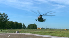 Russian military helicopter landing. Stock Footage