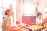 Happy creative team in office Stock Photos