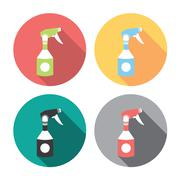 Home Cleaning Sprayer Flat Icons Set Stock Illustration