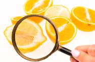 Lemon and a magnifying glass on white background Stock Photos