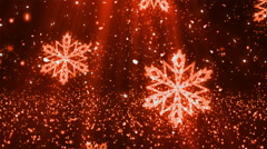 Christmas Snowflakes Dusts Red Loopable Background Stock Footage