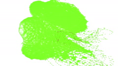 Green drops falling on white screen slow motion. juice Stock Footage