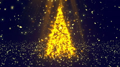 Christmas Tree Glitters Gold Loopable Background Stock Footage